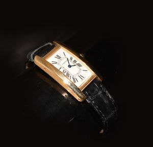 Cartier Tank watch, gold with black leather strap, ask in store or message us for details £9,500