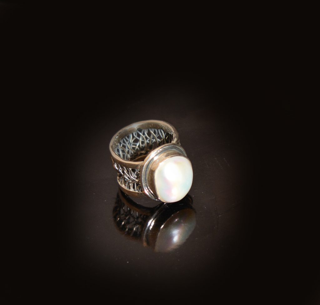 silver and mother of pearl ring £95.00