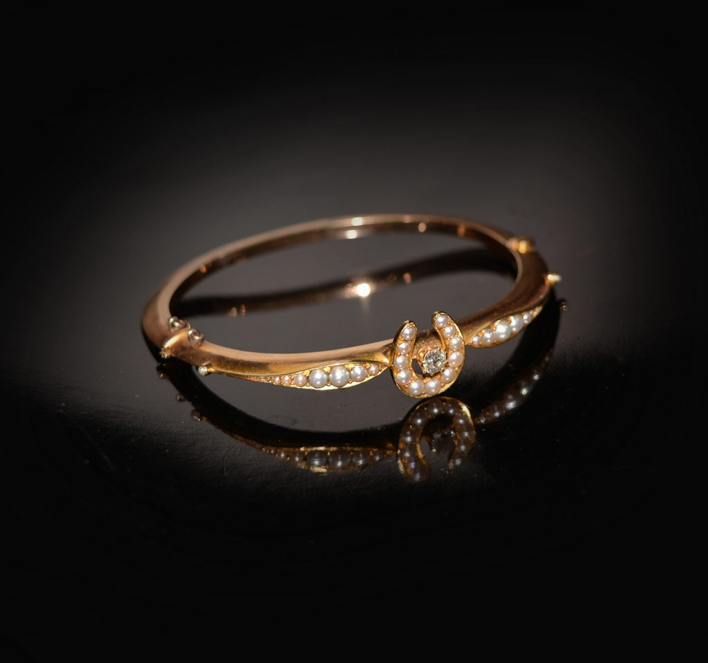 Vintage lucky horseshoe bangle studded with seed pearls £1,300.00