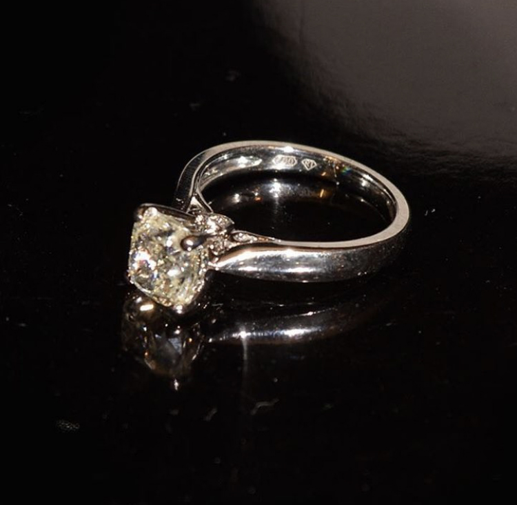 Cushion cut diamond solitaire ring 2.02 carat, clarity SI was £27,000 now £19,500