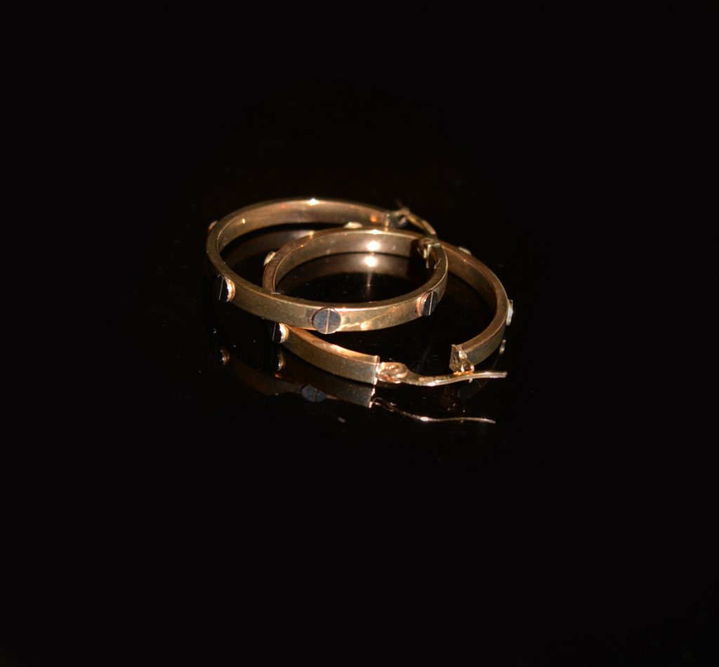 Pre-owned 9 carat gold hoop earrings £195.00